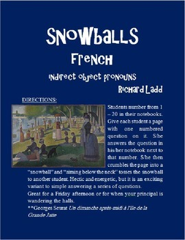 Indirect Object Pronouns Snowballs FRENCH