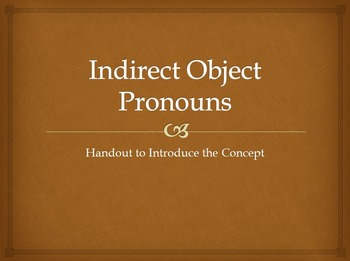 Indirect Object Pronouns : introductory handout