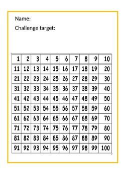 Individual 100 square card