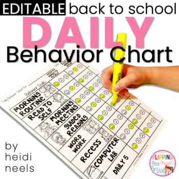 Editable Student Daily Behavior Charts & Data Recording Graph by Heidi Neels