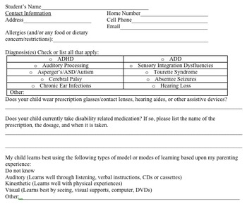 Individual Education Plan Parent Inforamtion form