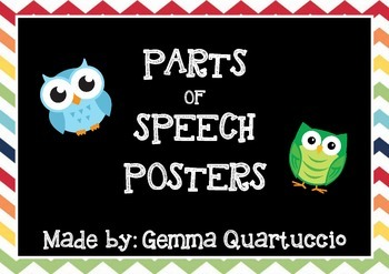 Individual Parts of Speech Posters