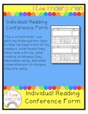 Individual Reading Conference Kindergarten Recording Sheet