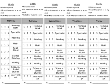 Individual Student Daily Goal Sheet