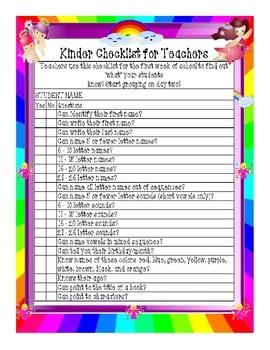 Individual Student Kinder Reading Checklist
