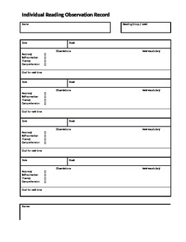 Individual and Group Reading Observation Records