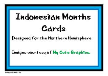Indonesian Month Cards - Northern Hemisphere Theme