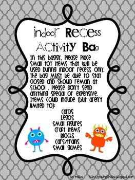 Indoor Recess Activity Bags Parent Letter