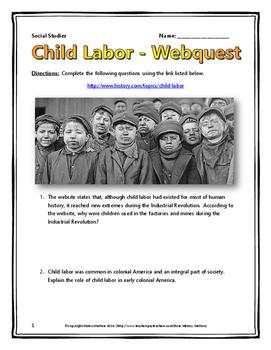Industrial Revolution Child Labor in America - Webquest with Key