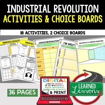 Industrial Revolution Choice Board Activities (Paper and G