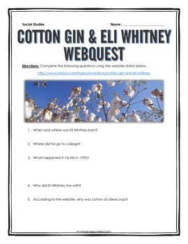 Industrial Revolution - Eli Whitney and the Cotton Gin - W