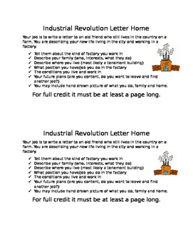 Industrial Revolution Letter Home