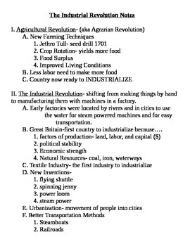 Global 2: Industrial Revolution Notes