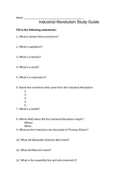 Industrial Revolution Study Guide (With Answers!)