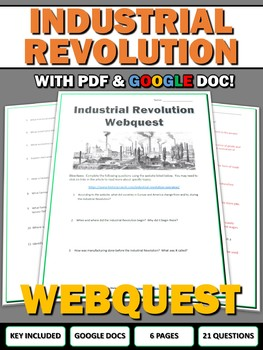Industrial Revolution - Webquest with Key