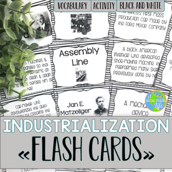 Industrialization and Famous Inventors Flash Cards - Black