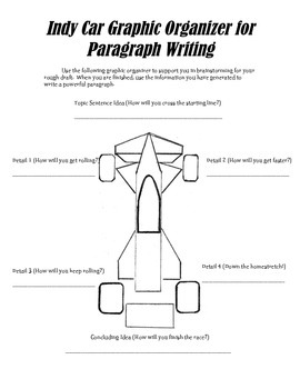 Indy Car Paragraph Writing Graphic Organizer