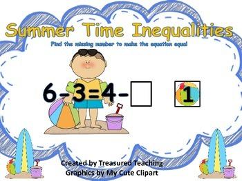 Inequalities Math Center Summer Themed