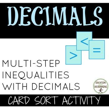 Inequalities -  Multi-step Inequality with decimals card s