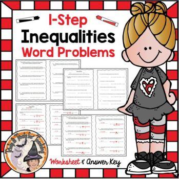 Inequalities One Step Word Problems Practice Worksheet