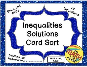 Inequalities Solutions Card Sort TEKS 6.10A, 6.10B