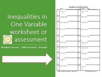 Inequalities - Solve & Graph - Worksheet or Assessment DIF
