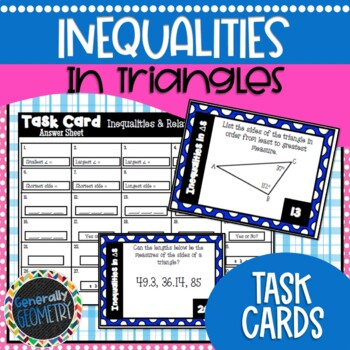 Inequalities in Triangles Task Cards; Geometry, Side/Angle