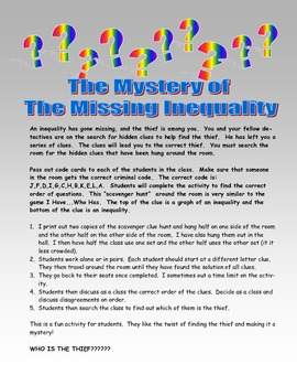 Inequality Mystery Math Scavenger Hunt - Find The Thief Co