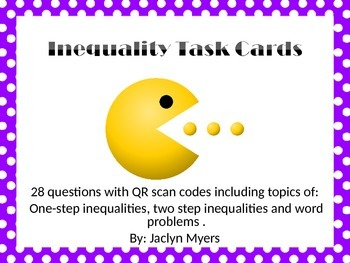 Inequality Task Cards with QR Codes
