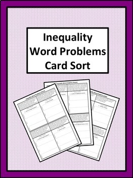 Inequality Word Problems Card Sort