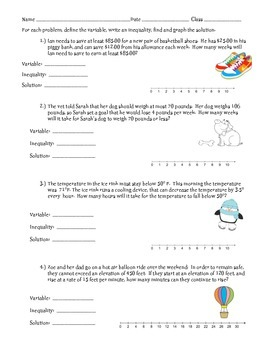 One Step Inequalities Worksheets