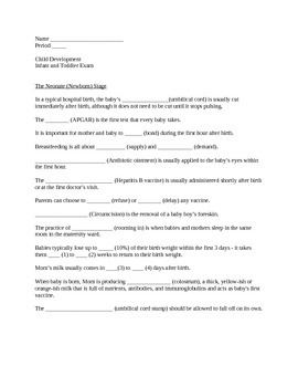Infant and Toddler Exam for FACS Child Development (With l