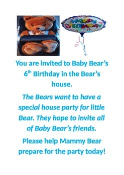 Infants invitation to Baby bears birthday party theme