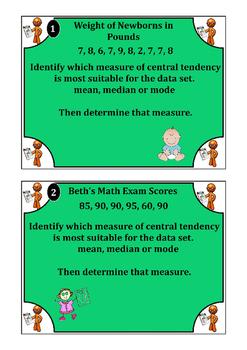 Inference Task Cards (mean, median, mode, box n whisker plots)