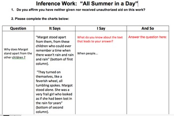 """Inference Work for Bradbury's """"All Summer in a Day"""""""