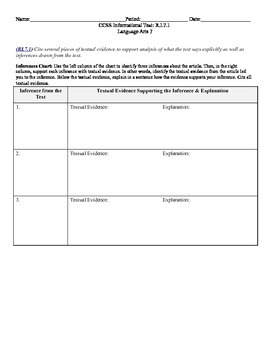 Inferences Chart CCSS RI.7.1