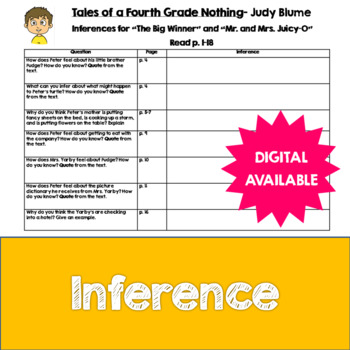 Inferences- Tales of a Fourth Grade Nothing by Judy Blume-
