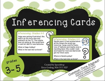 Inferencing Task Cards - 3-5 Grade {common core aligned} c