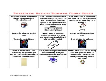 Inferencing Reading Response Choice Board