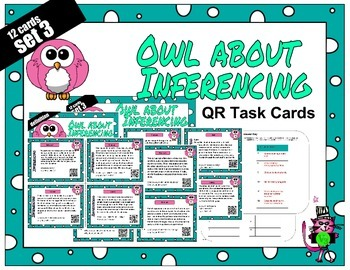 Inference QR code task cards or inference passage cards se