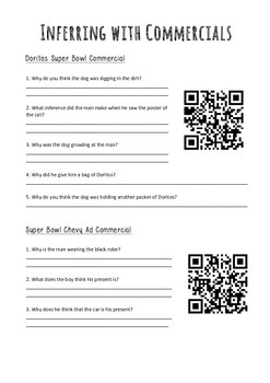 Inferring With Commercials Worksheet