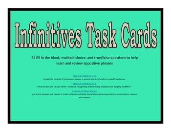 Infinitive Phrase Task Cards