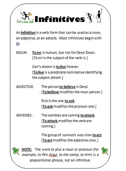 Infinitives Writer's Notebook Entry