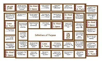 Infinitives of Purpose Board Game
