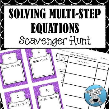Solving Multi-Step Equations Scavenger Hunt! (Task Cards/S