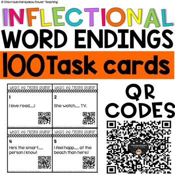 Inflectional Endings QR Code Task Cards