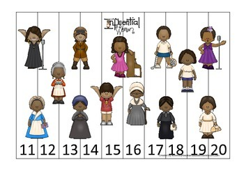 Influential Women themed Number Sequence Puzzle 11-20 pres