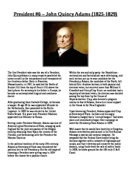 Info Reading Text - The Presidents: John Quincy Adams (No Prep)