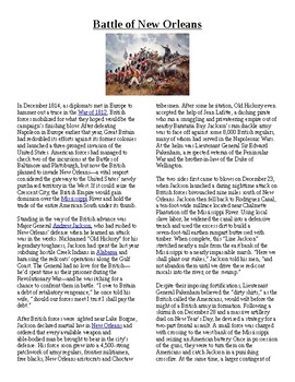 Info Reading Text - The War of 1812: Battle of New Orleans