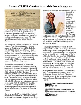 Info Reading Text/Vocab - Sequoyah and the Cherokee Print
